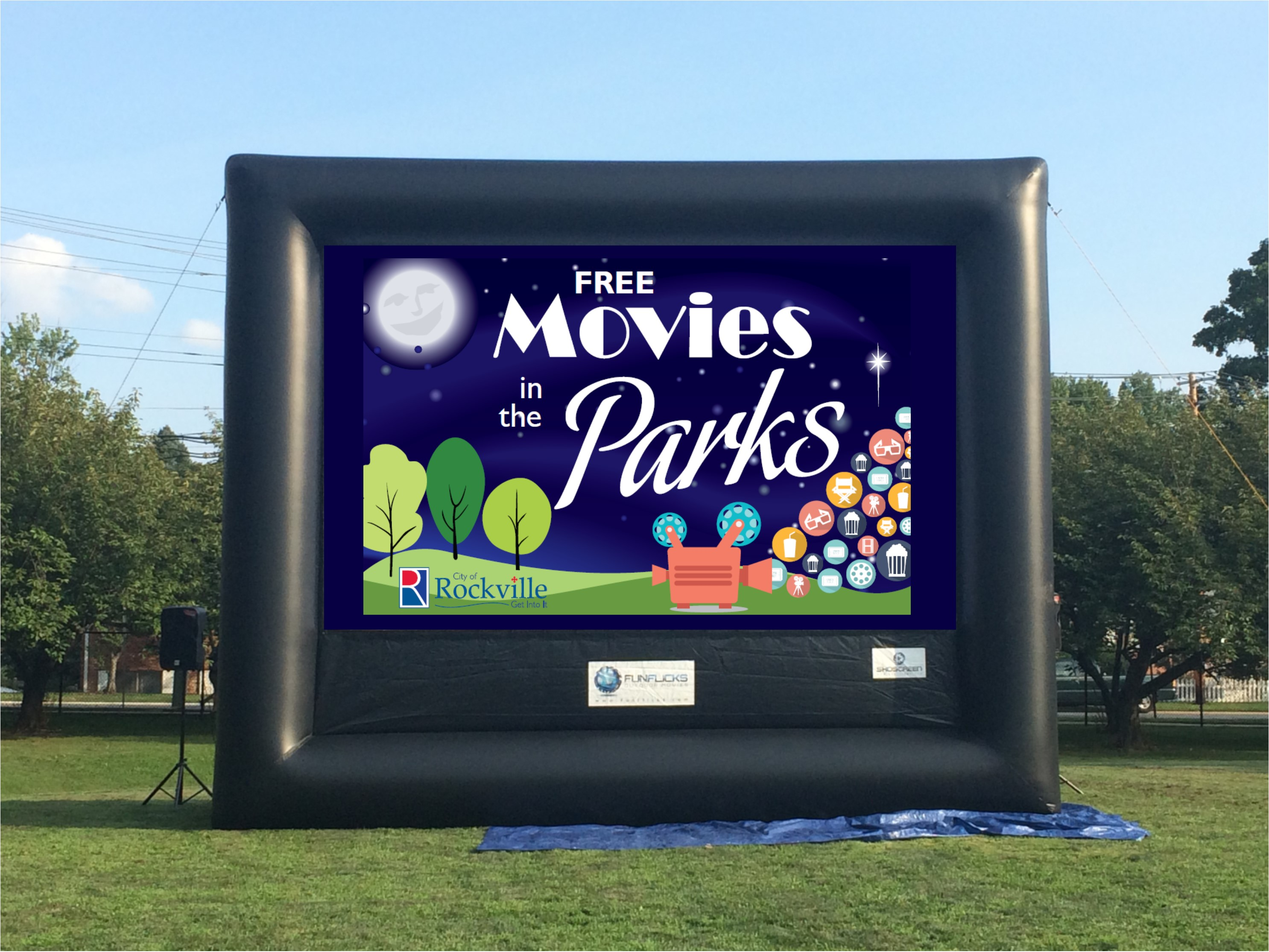 Inflatable big screen for Movies in the Park event