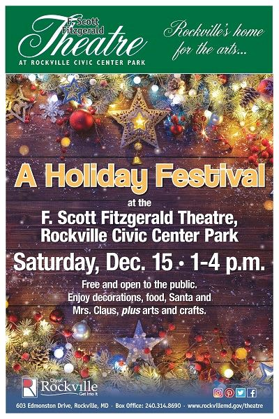 Header: F. Scott Fitzgerald Theatre at Rockville Civic Center Park- Rockville's home for the arts