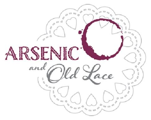 Arsenic and Old Lace logo on a doily with a drink stain