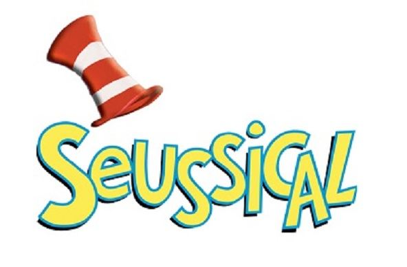 Seussical logo with red and white striped hat