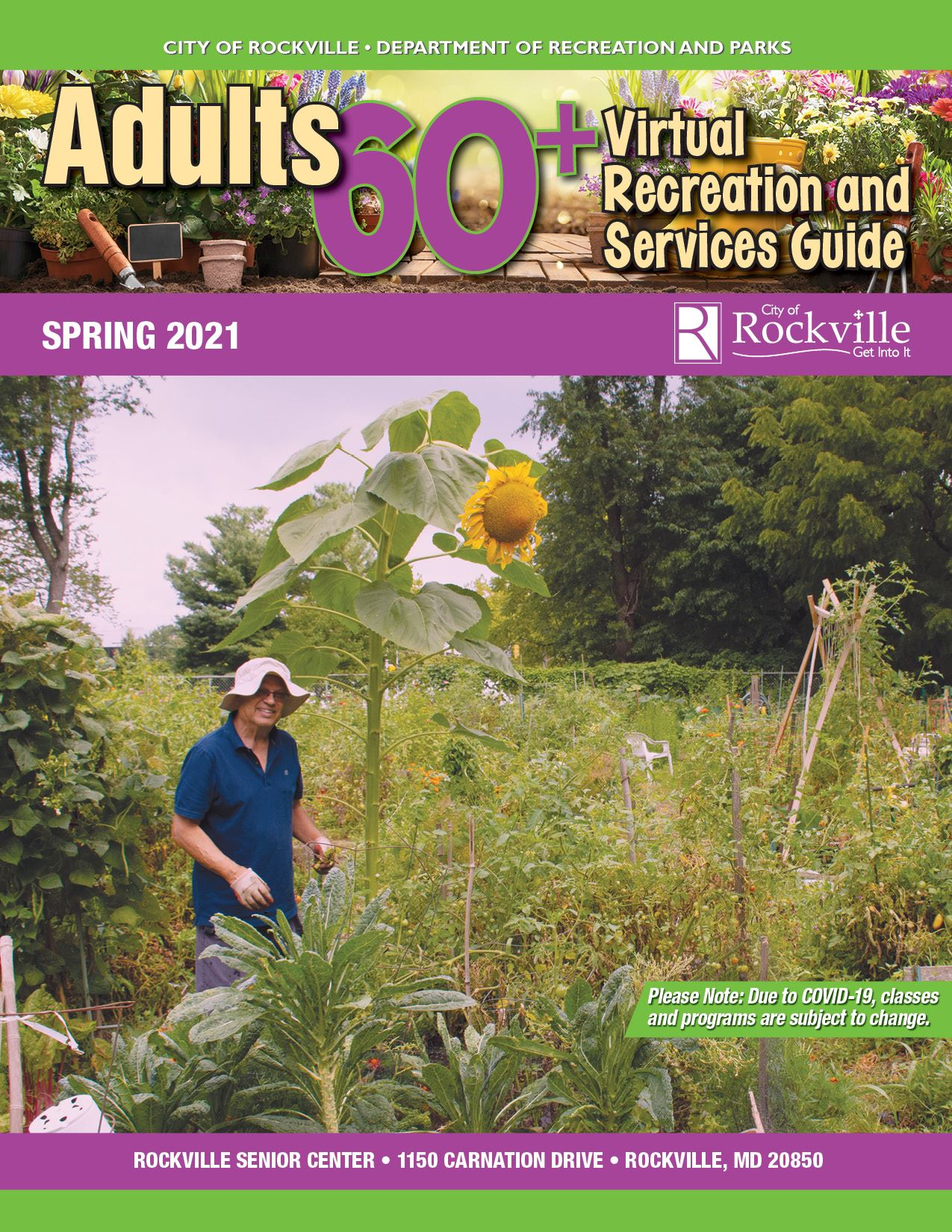 Adults 60+ Spring 2021 Recreation Guide Cover