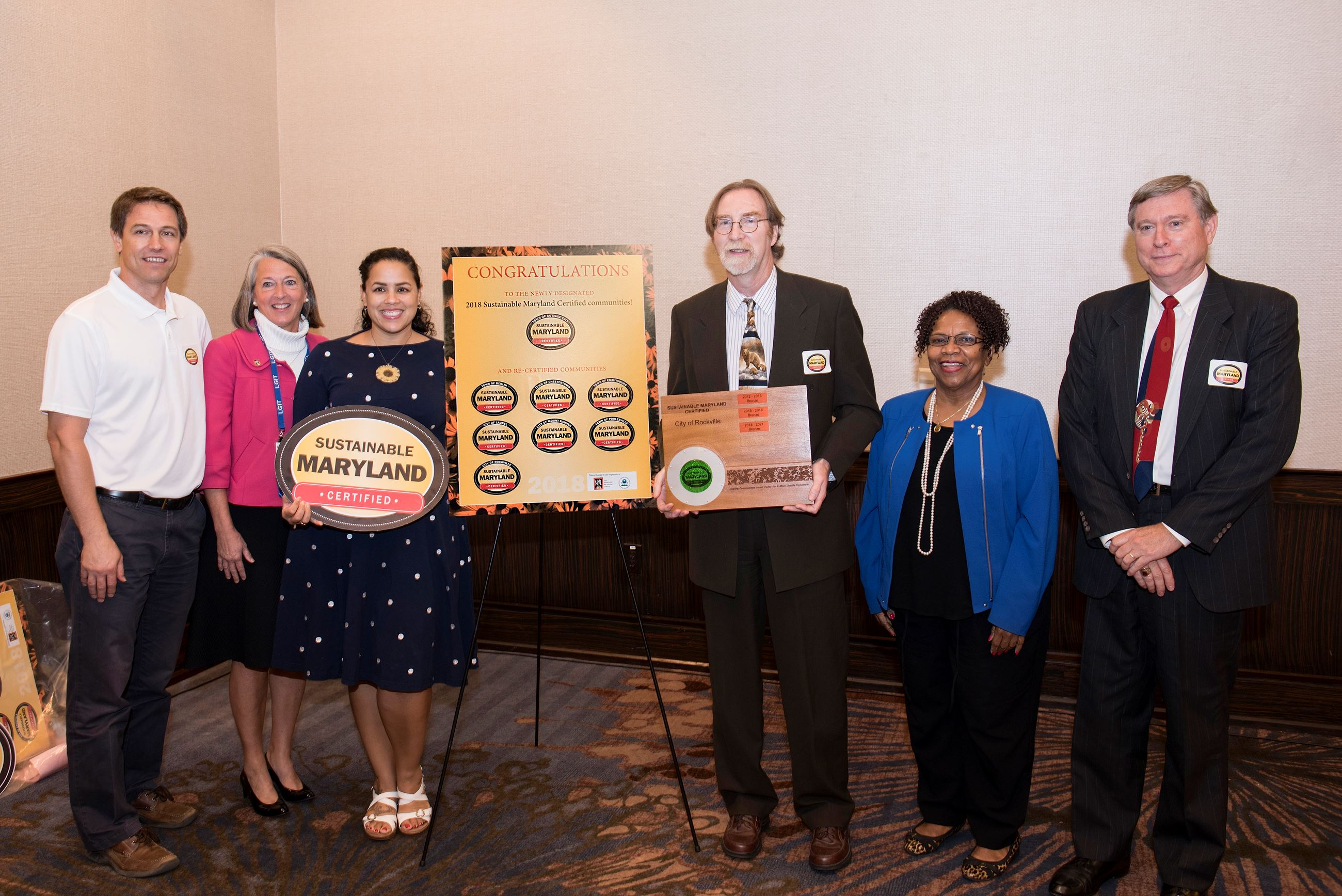 Photo of the City of Rockville receiving award as a Sustainable Maryland community.