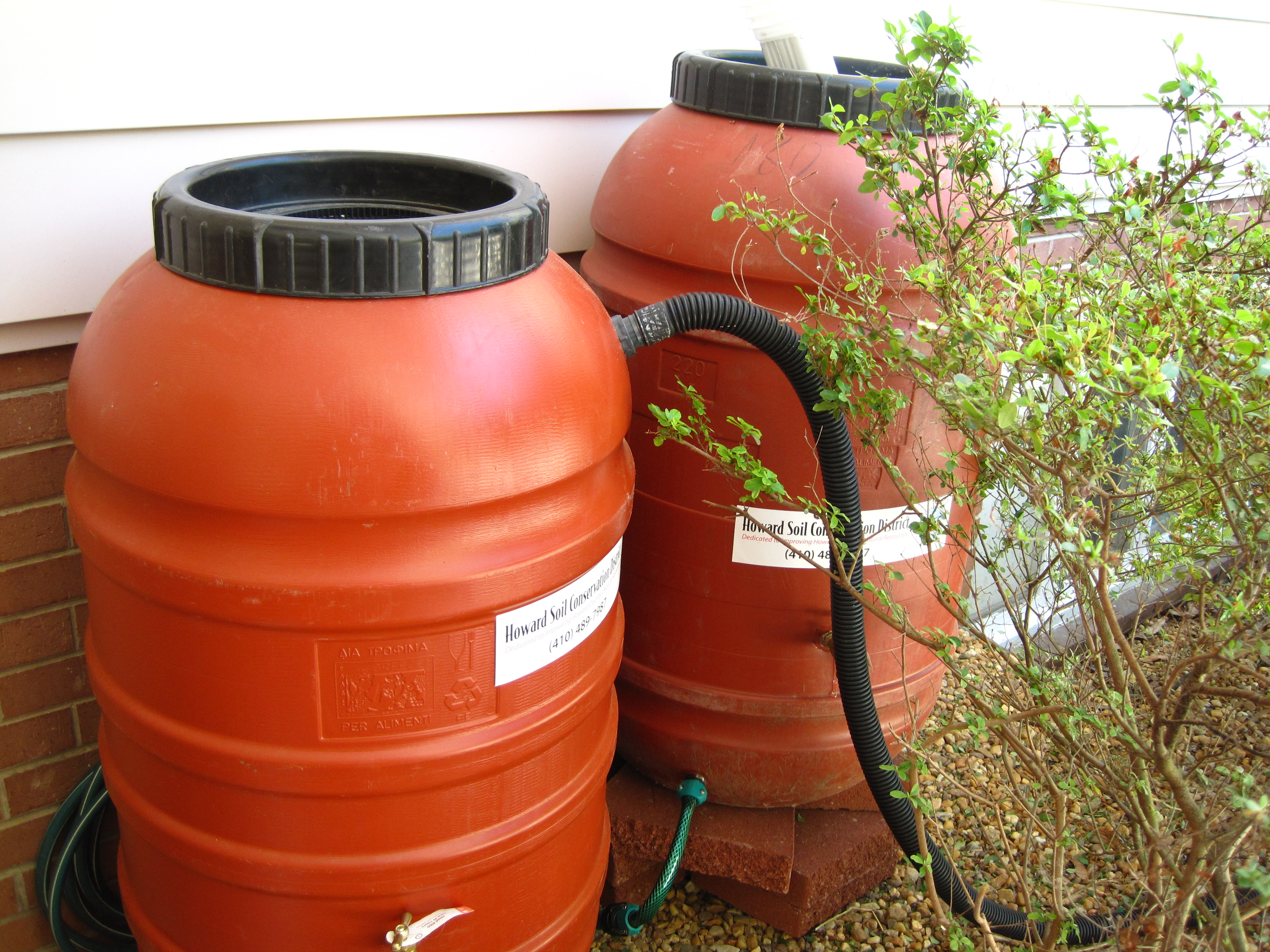 Two orange recycled rain barrels