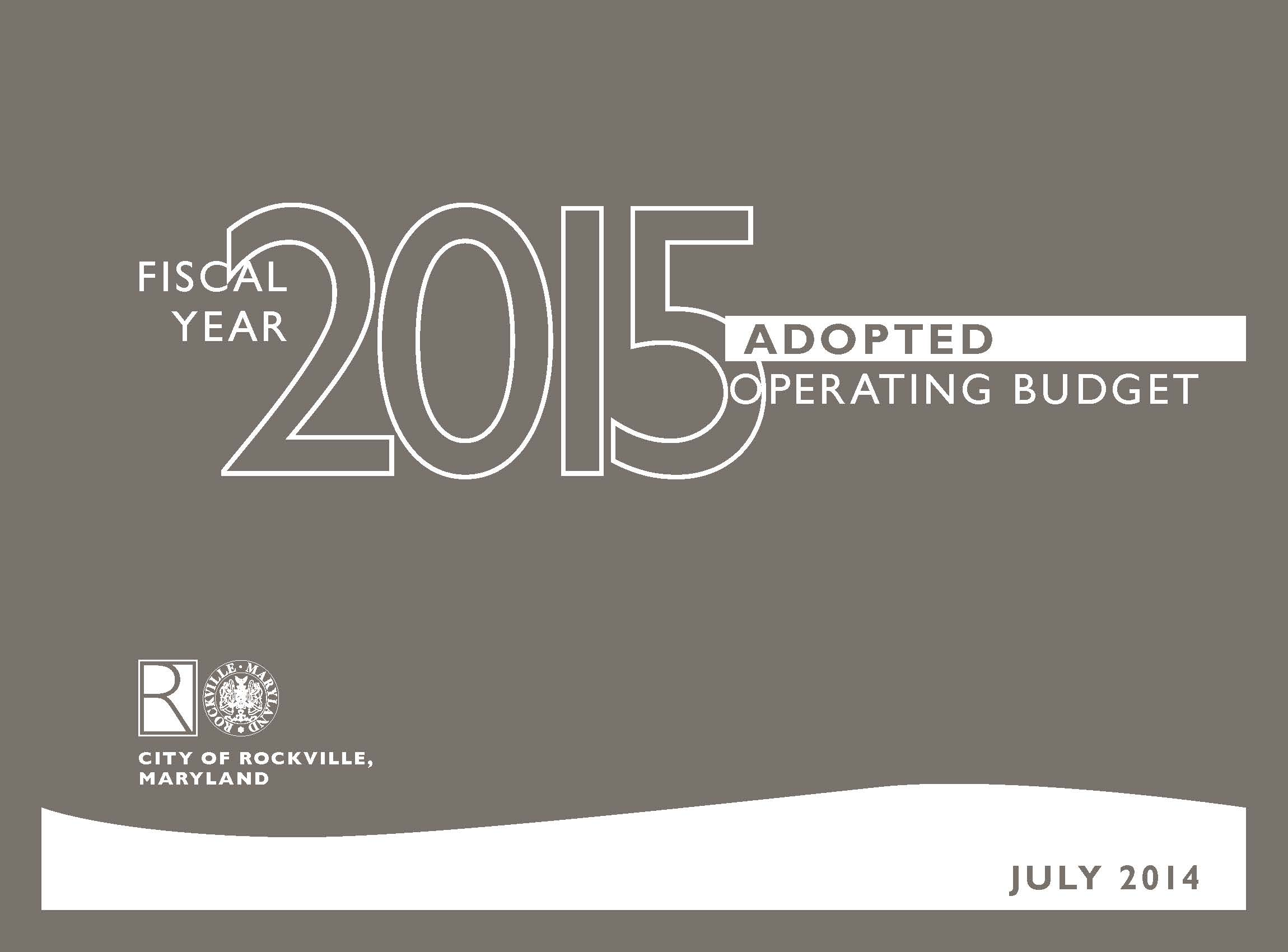 Adopted Operating Budget Cover Page