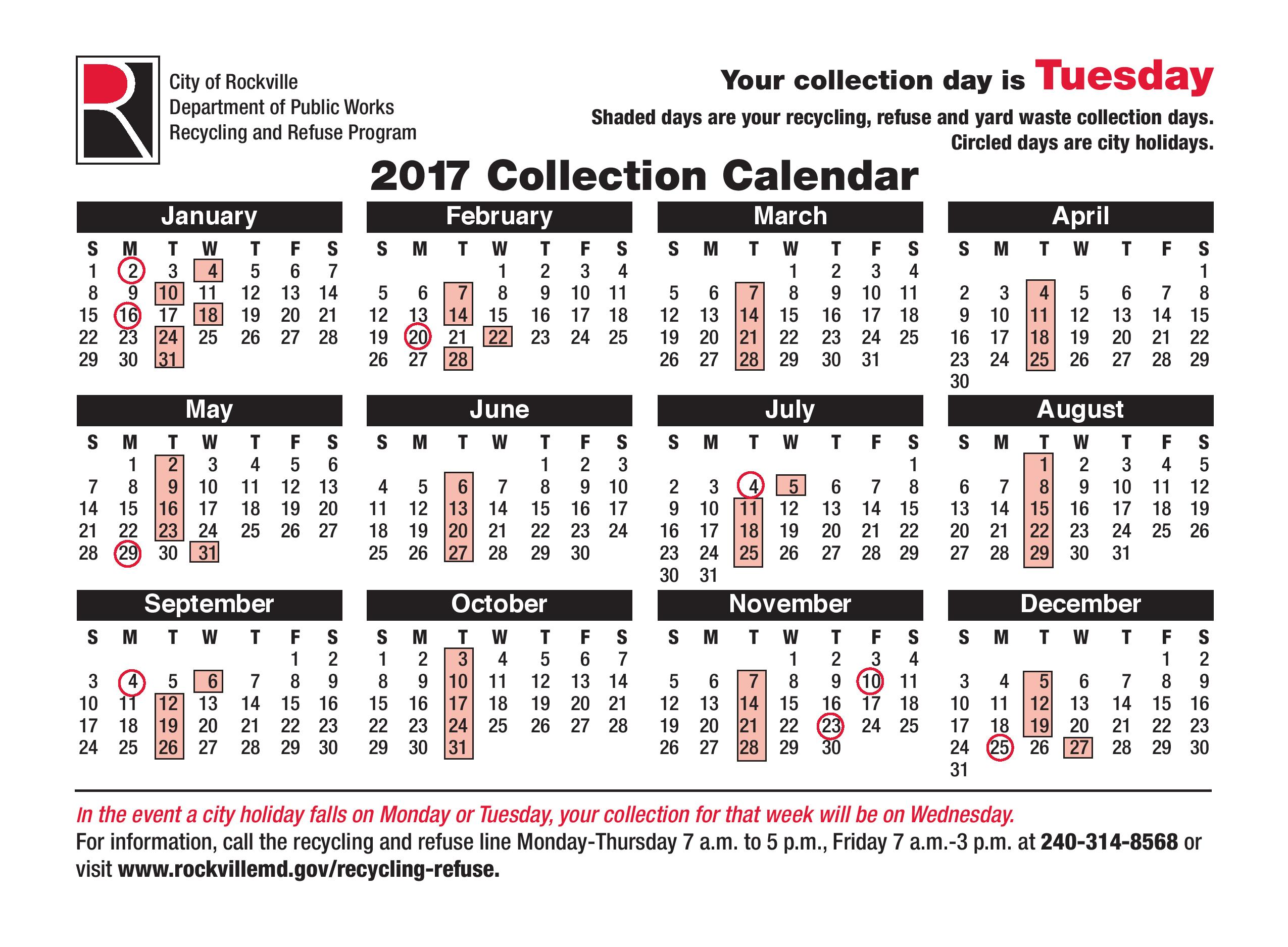 Tuesday Recycling Schedule 2017