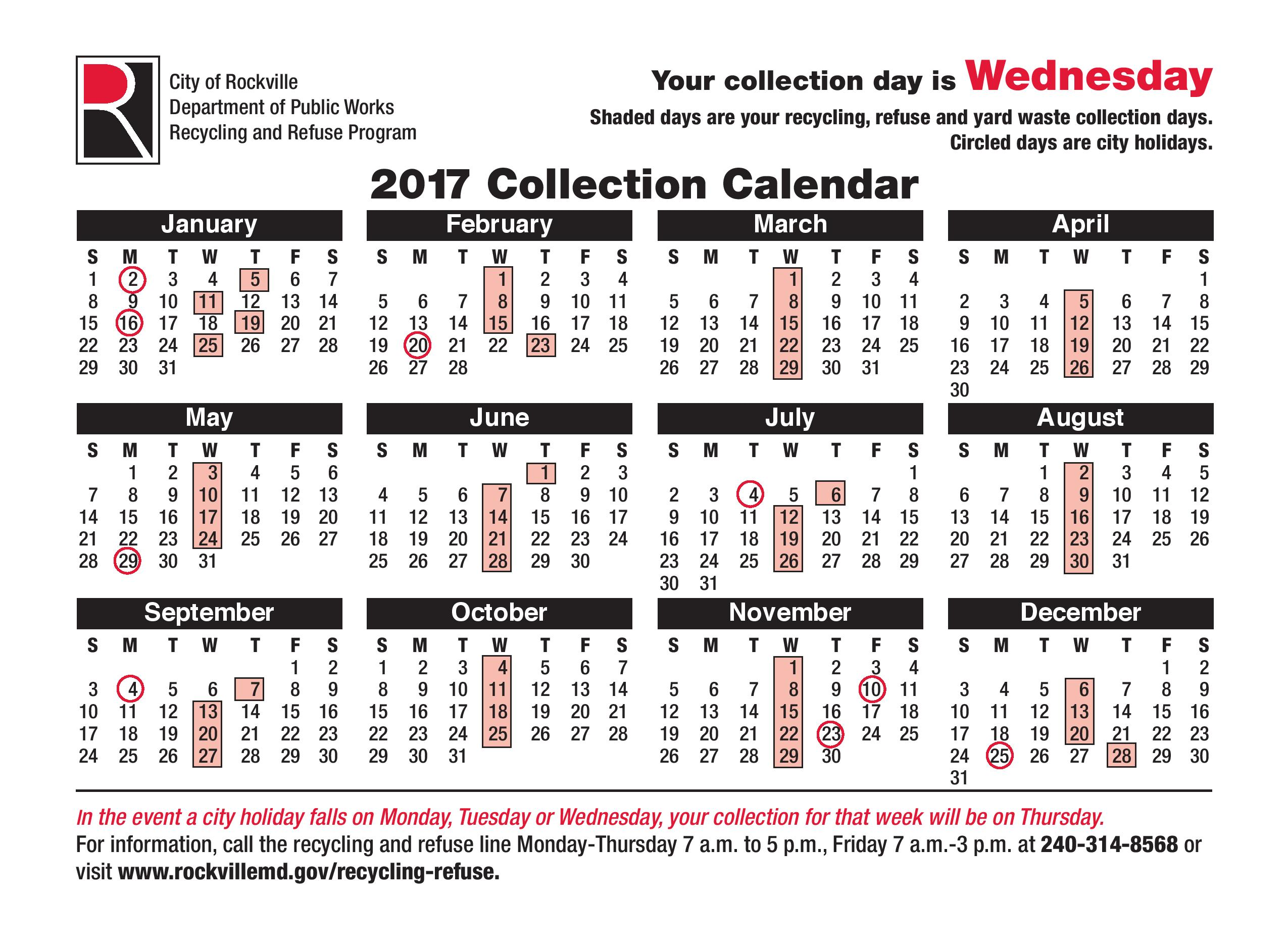 Wednesday Recycling Schedule 2017