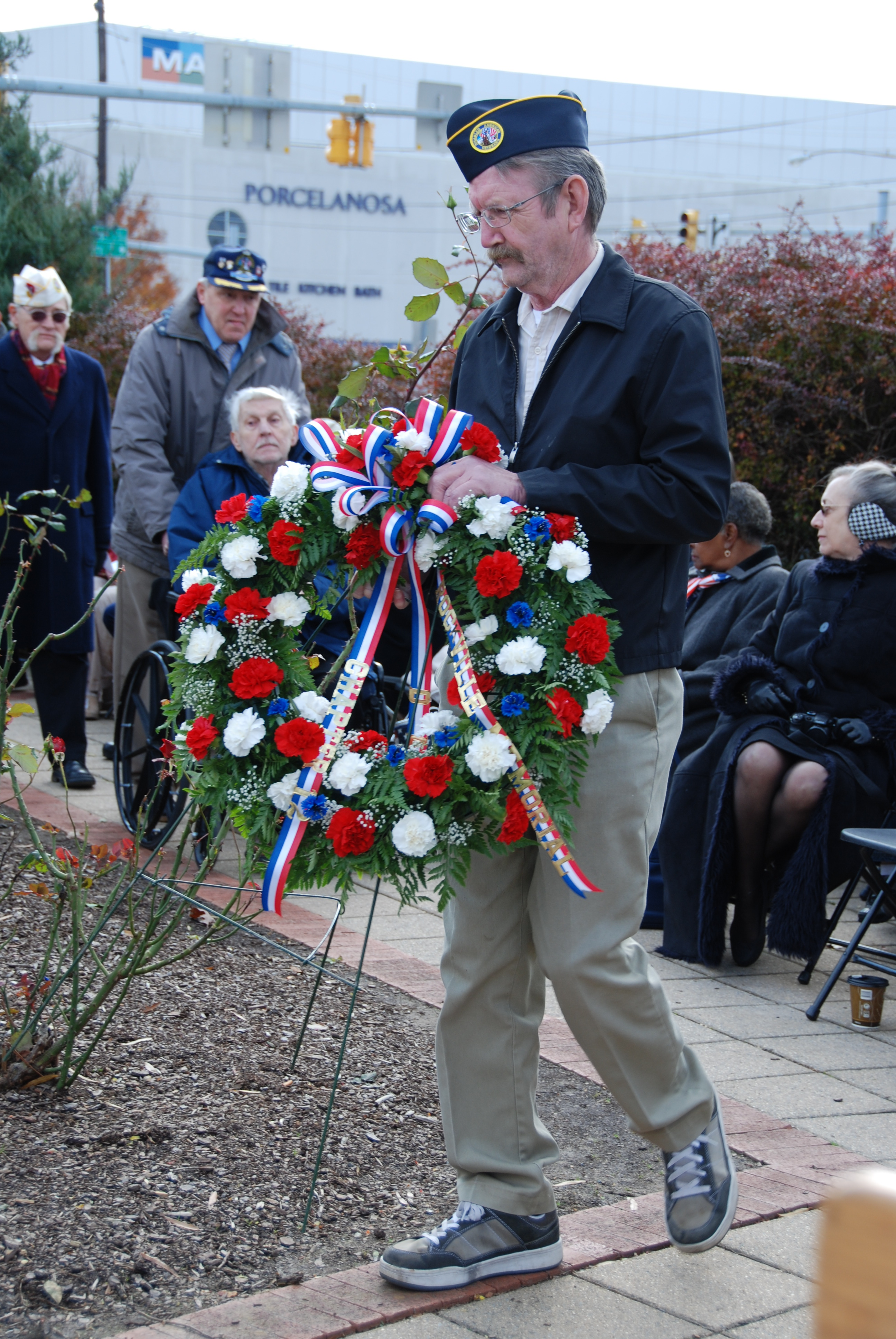 veteran laying a wreath